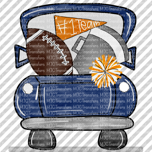 DARK BLUE FOOTBALL TRUCK WITH ORANGE/SILVER (SUBLIMATION)