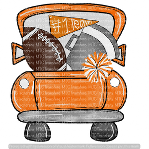 ORANGE FOOTBALL TRUCK WITH SILVER (KEEP BLANK OR PUT NAME/TEAM IN NOTES)