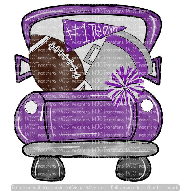 PURPLE FOOTBALL TRUCK (SUBLIMATION)