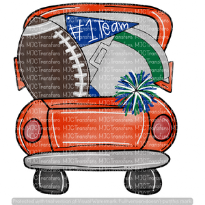ORANGE FOOTBALL TRUCK WITH BLUE/GREEN (KEEP BLANK OR ADD NAME/TEAM IN NOTES AT CHECKOUT)
