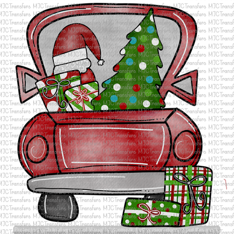 Red Christmas Truck.Red Christmas Truck Sublimation