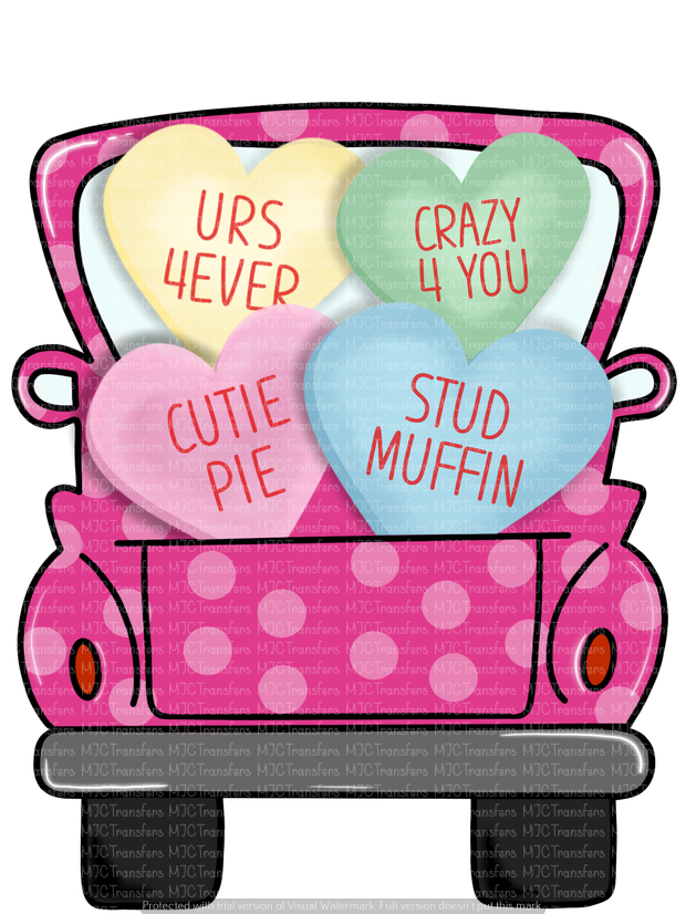 VALENTINES TRUCK WITH CANDY HEARTS (SUBLIMATION)