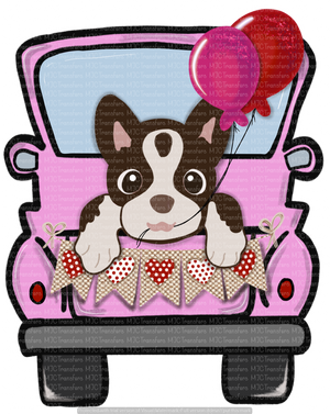 VALENTINES TRUCK WITH BROWN AND WHITE DOG (SUBLIMATION)