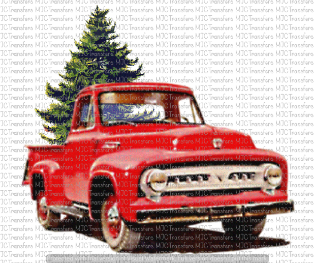 VINTAGE RED TRUCK WITH CHRISTMAS TREE (SUBLIMATION)
