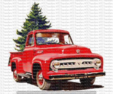 Vintage Red Truck Christmas Decor.Vintage Red Truck With Christmas Tree Sublimation