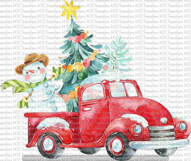 CHRISTMAS TRUCK WITH SNOWMAN AND TREE (SUBLIMATION)