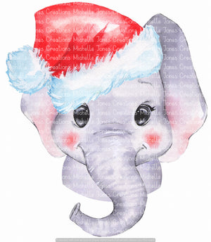 ELEPHANT IN SANTA HAT (SUBLIMATION)