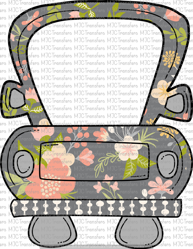 GRAY FLORAL TRUCK (SUBLIMATION)