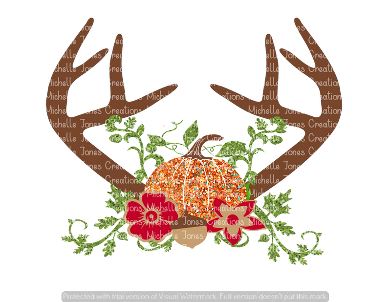 GLITTER FALL ANTLERS WITH PUMPKIN (SUBLIMATION)