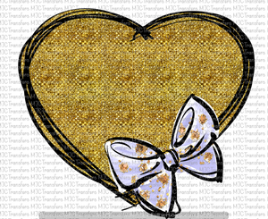 GLITTER HEART WITH BOW (SUBLIMATION)