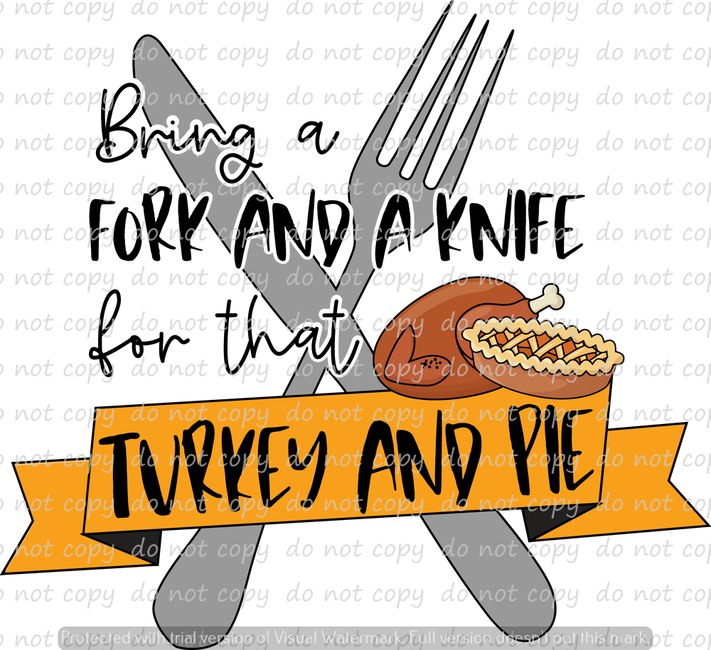 TURKEY AND PIE (SUBLIMATION TRANSFER)