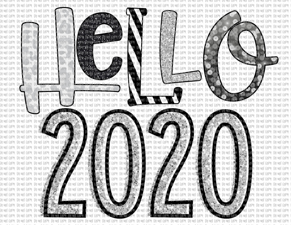 HELLO 2020 IN SILVER (SUBLIMATION)