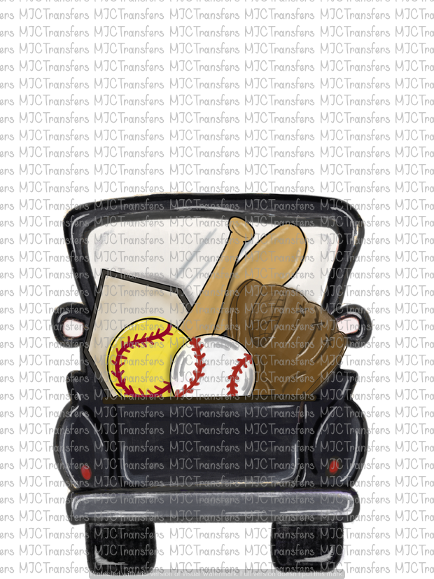 BLACK SOFTBALL/BASEBALL TRUCK (SUBLIMATION)