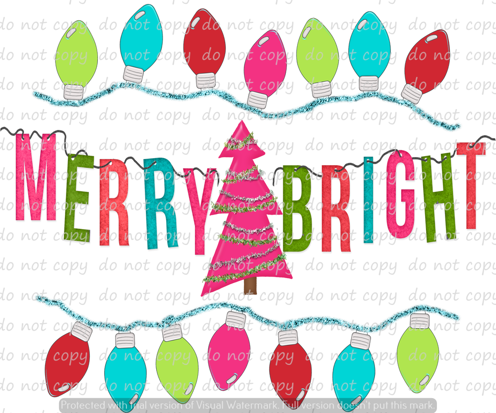 MERRY BRIGHT WITH LIGHTS (SUBLIMATION TRANSFER)