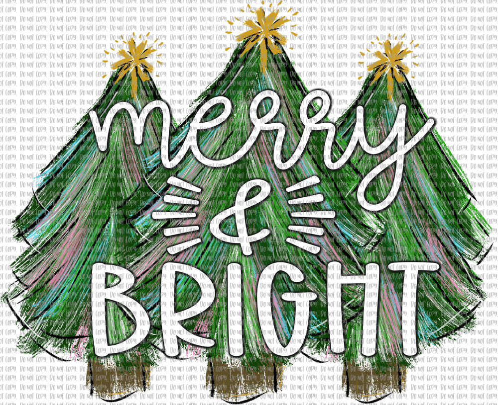 MERRY AND BRIGHT PAINTED TREES (SUBLIMATION)