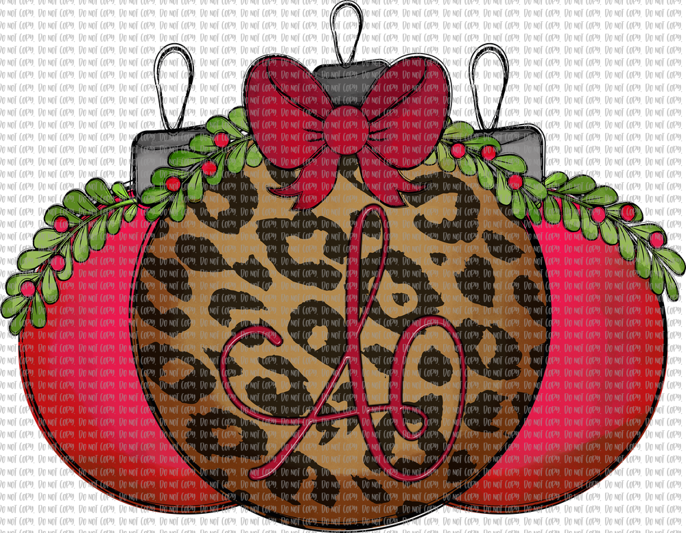 MONOGRAM LEOPARD ORNAMENT (I HAVE A-Z AVAILABLE) (SUBLIMATION)