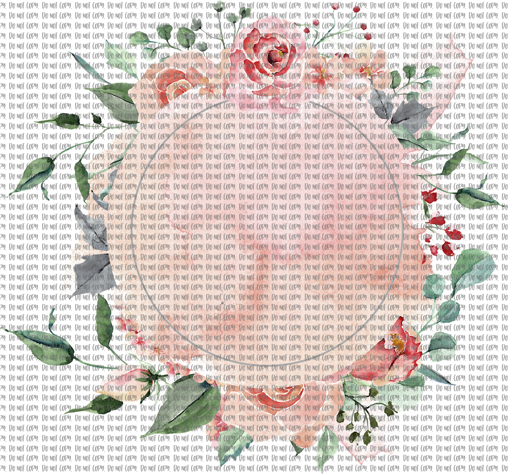PEACH AND ROSE MONOGRAM FRAME (SUBLIMATION)