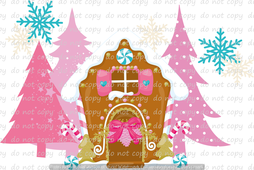 PINK NORTHPOLE GINGERBREAD DREAMS (SUBLIMATION TRANSFER)