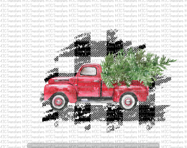 BUFFALO PLAID RED CHRISTMAS TRUCK WITH TREE (SUBLIMATION)