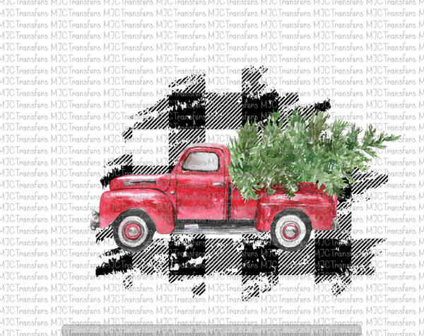 Red Christmas Truck.Buffalo Plaid Red Christmas Truck With Tree