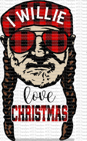 I WILLIE LOVE CHRISTMAS (PLAID HAT AND COLORED FACE) (SUBLIMATION)