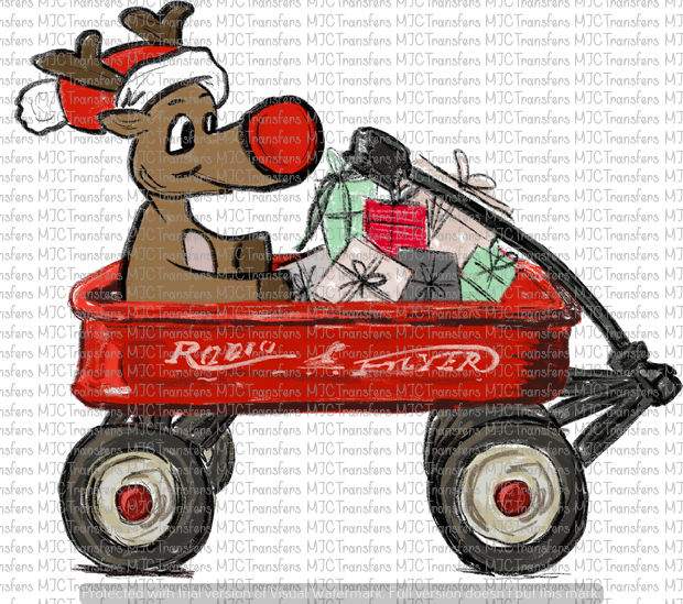 WAGON WITH RUDOLPH (SUBLIMATION)