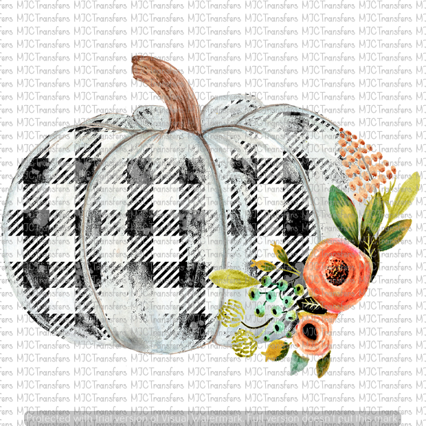 WHITE FLORAL FALL PUMPKIN (SUBLIMATION)