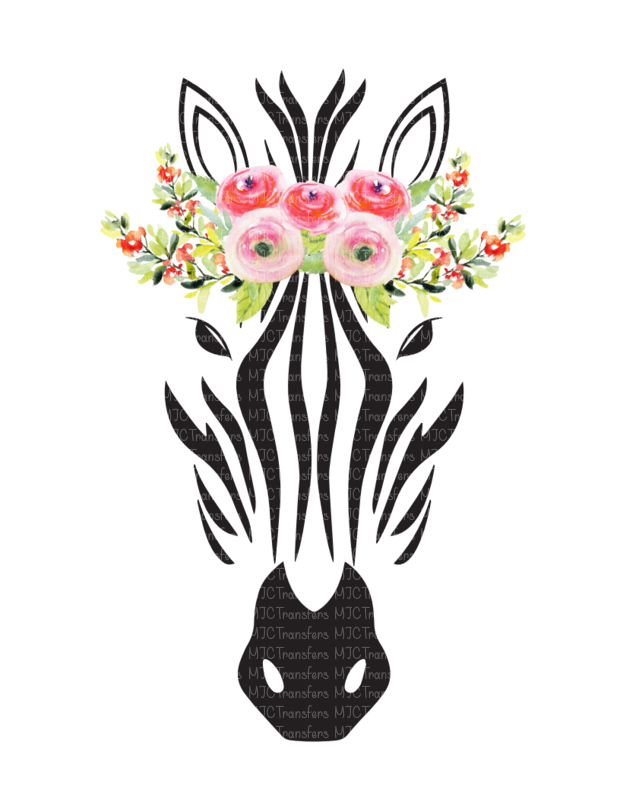 ZEBRA WITH FLOWER CROWN (SUBLIMATION)