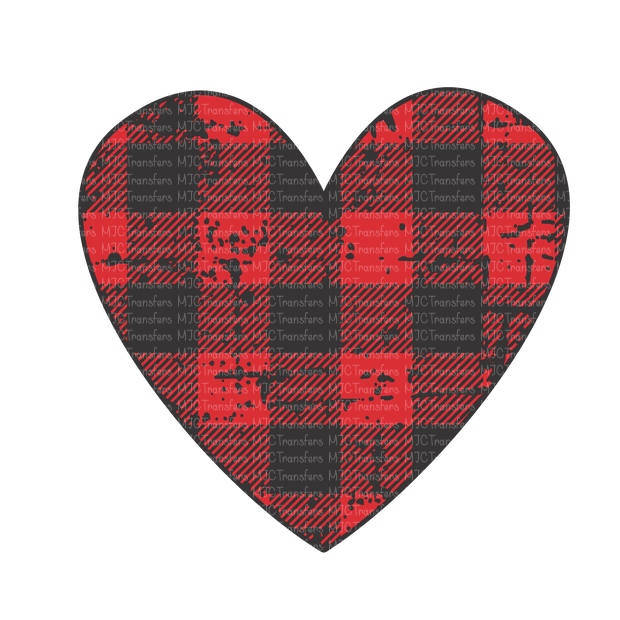 DISTRESSED HEART IN BUFFALO PLAID (SUBLIMATION)