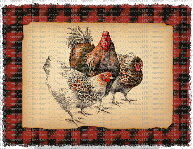 BUFFALO PLAID CHICKENS (SUBLIMATION)