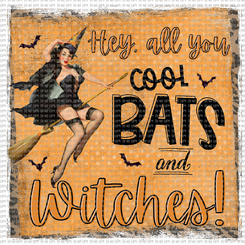 COOL BATS AND WITCHES WITH BACKGROUND (SUBLIMATION)