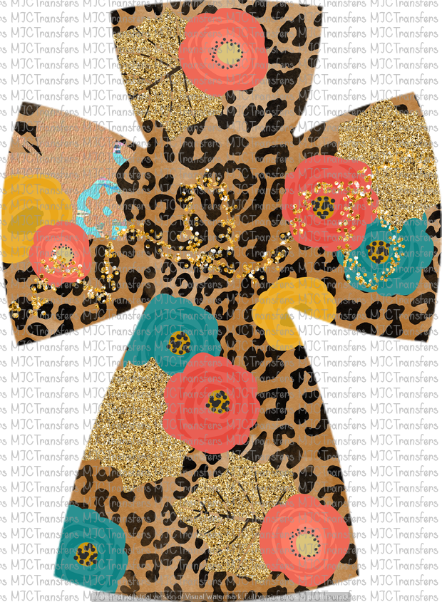 FLORAL AND LEOPARD CROSS (SUBLIMATION)