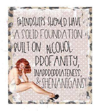 FRIENDSHIP SHOULD HAVE A SOLID FOUNDATION BUILT ON ALCOHOL, PROFANITY, INAPPROPRIATENESS ,AND SHENANIGANS! (SUBLIMATION)