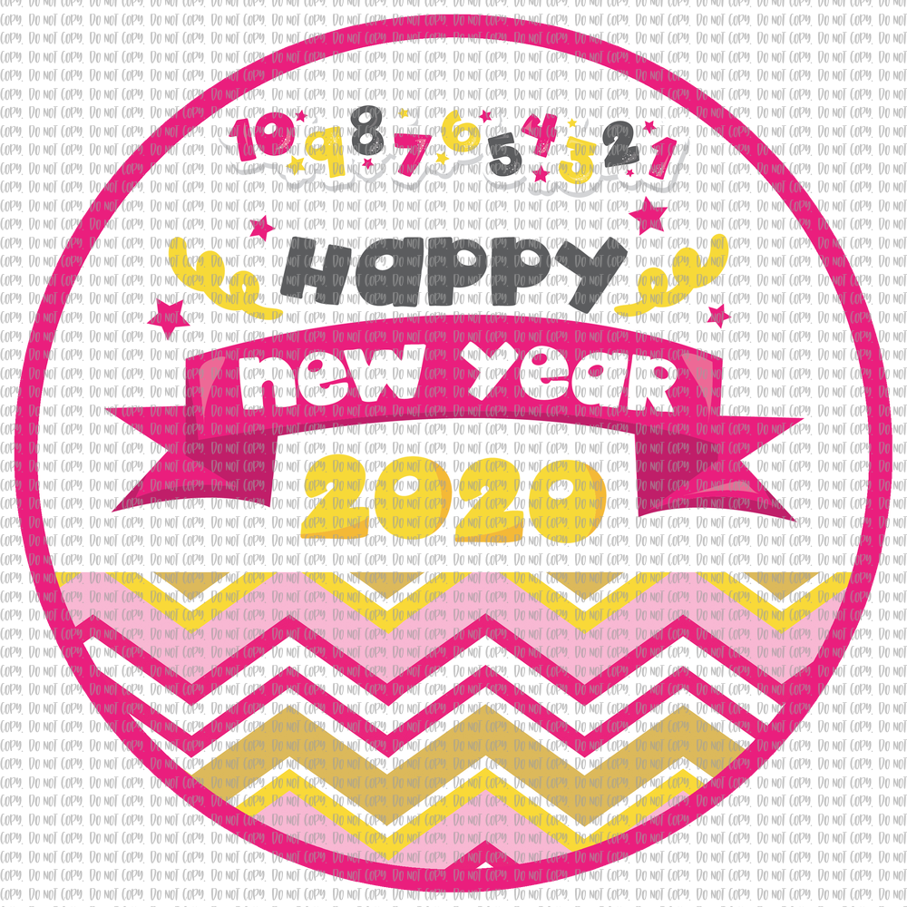 PINK HAPPY NEW YEAR 2020 (SUBLIMATION)