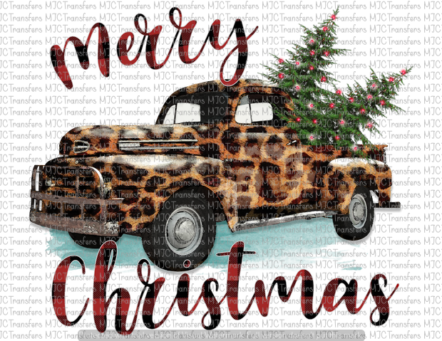 MERRY CHRISTMAS TRUCK (ANIMAL PRINT) (SUBLIMATION)