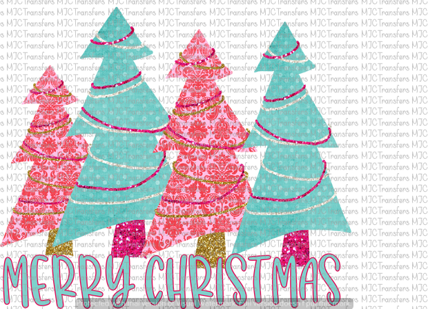 MERRY CHRISTMAS TREES (PINK/BLUE)