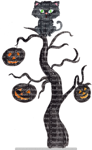 SPOOKY TREE WITH CAT (SUBLIMATION)