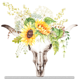 SUNFLOWER SKULL (SUBLIMATION)