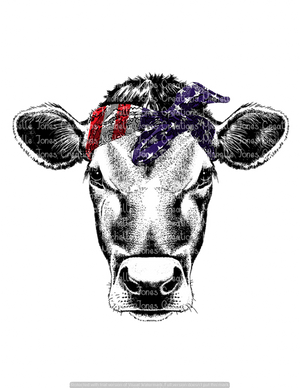 COW WITH FLAG BANDANNA (SUBLIMATION)