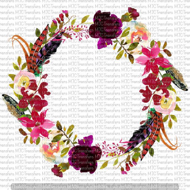 FLORAL WREATH WITH FEATHERS (SUBLIMATION)