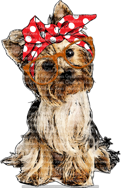 YORKIE WITH BANDANNA AND GLASSES (SUBLIMATION)