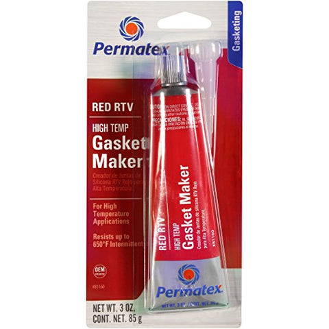 S - Permatex 81160 High-Temp Red RTV Silicone Gasket, 3 oz