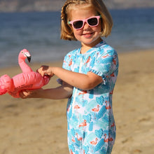 Load image into Gallery viewer, Ruffles UPF50+ Sunsuit 'Flamingo Fun'