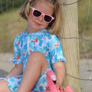 Ruffle Sunsuit | Flamingo Fun | Size 24m,3 and 4