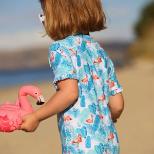 Ruffles UPF50+ Sunsuit 'Flamingo Fun'