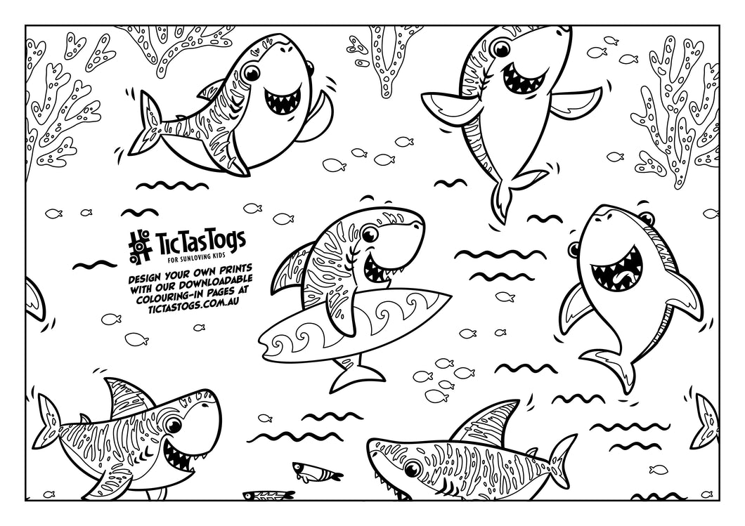 Surfing Sharks | Colouring-in