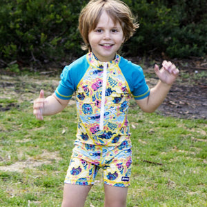 Short sleeve UPF50+ Sunsuit 'Aussie Animalia'