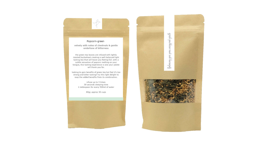 Flow popcorn-green low caffeine loose leaf tea rice tea green tea blend weight loss tea