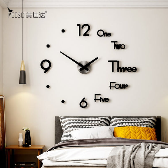 MEISD Large Wall Clock Creative DIY Mirror Stickers Wall Watch Modern Design Mute Quartz Clocks Living Room Decor Horloge Needle