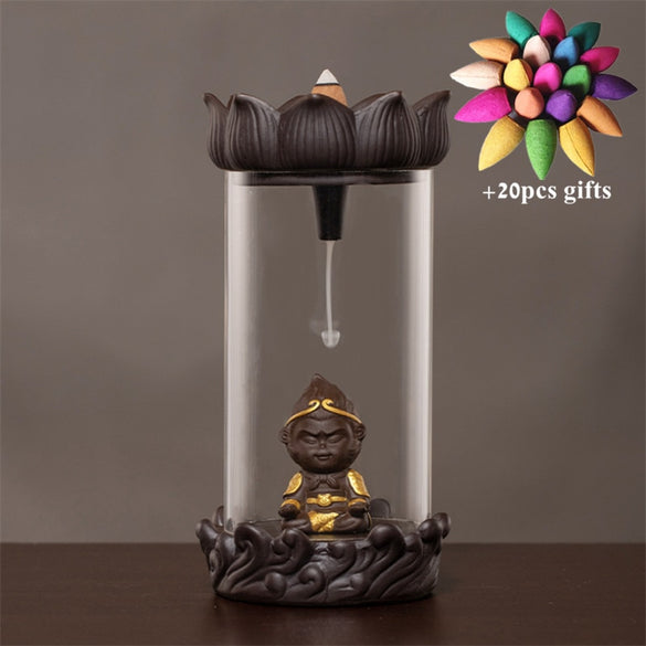 Home Decor Monkey King Windproof Backflow Incense Burner Feng Shui Mascot Waterfall Censer with Acrylic Cover + 20pcs Cones